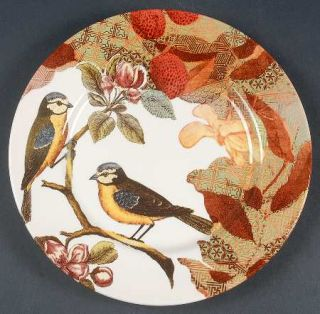 Royal Stafford Decoupage Dinner Plate, Fine China Dinnerware   Birds,Flowers,Lea