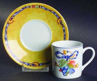 Bernardaud Borghese Flat Demitasse Cup & Saucer Set, Fine China Dinnerware   Dif