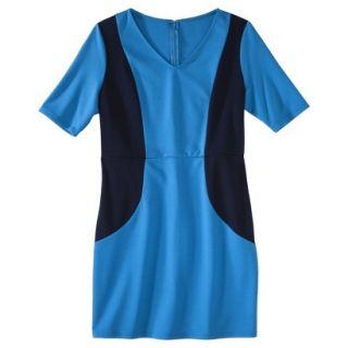 Merona Petites V Neck Colorblock Ponte Dress   Blue/Navy XSP