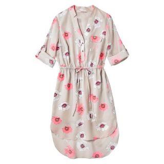 Merona Womens Drawstring Shirt Dress   Pink Floral   M