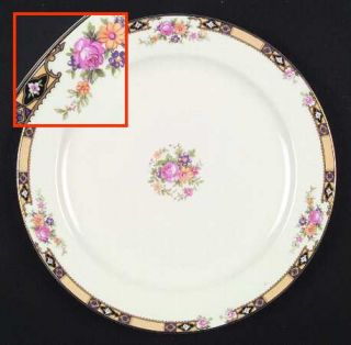 Edwin Knowles 402e1 Dinner Plate, Fine China Dinnerware   Yellow Band W/Purple&B