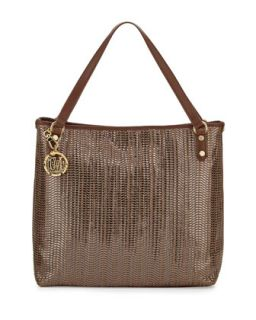 Borsa Metallic Woven PVC Tote Bag, Bronze/Brown