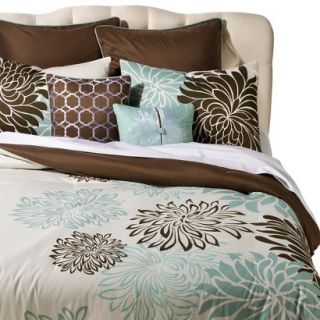 Anya 8 Piece Floral Print Bedding Set   Blue/Brown (Queen)