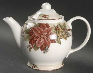 222 Fifth (PTS) Yuletide Celebration Tea/Coffee Pot & Lid, Fine China Dinnerware