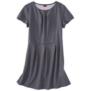 Merona Womens Plus Size Short Sleeve Pleated Front Dress   Navy/White 2