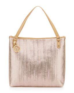 Borsa Metallic Woven PVC Tote Bag, Pink/Beige