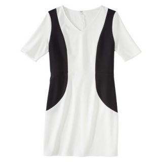 Merona Petites V Neck Colorblock Ponte Dress   Cream/Black MP