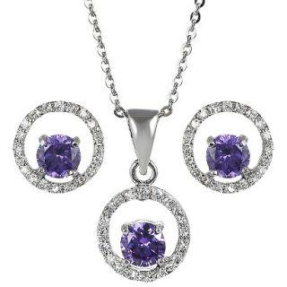 Sterling Silver Cubic Zirconia Jewelry Set   Purple