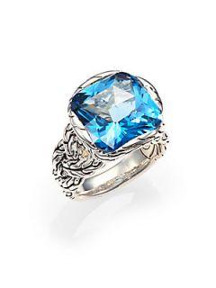 John Hardy Batu Classic Chain London Blue Topaz & Sterling Silver Braided Ring