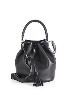 Anya Hindmarch Vaughan Small Crossbody Leather Bucket Bag   Black