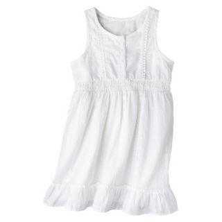 Girls Sleeveless Button Front Shirt Dress   Fresh White XL