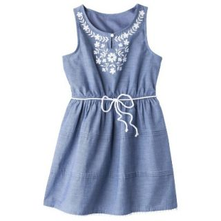 Girls Sleeveless Embellished Front Shirt Dress   Chambray XL