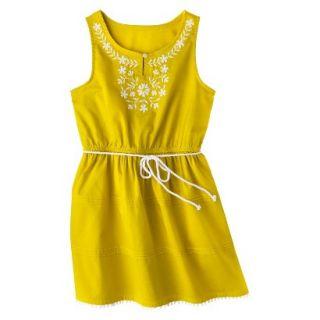 Girls Sleeveless Embellished Front Shirt Dress   Vintage Yellow M