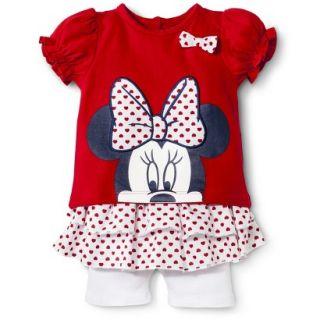Disney Newborn Girls 2 Piece Minnie Mouse Set   Red 3 6 M