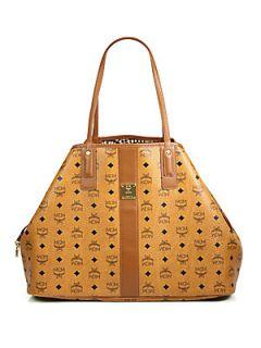 MCM Liz Reversible Canvas & Leather Shopper Bag   Cognac