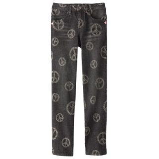 D Signed Girls Peace Sign Printed Skinny Jean  Black XS