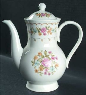 Noritake Verse Coffee Pot & Lid, Fine China Dinnerware   Versatone I, Pink & Yel