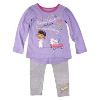 Disney Infant Toddler Girls Doc McStuffins Top and Bottom Set   Purple 3T