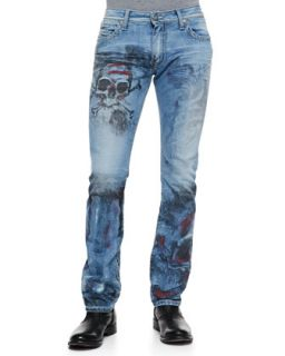 Skull Design Studded Pocket Jeans   Robins Jean