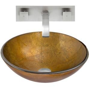 Vigo Glass Vessel Sink in Branco and Titus Wall Mount Faucet Set in Brushed Nickel VGT365