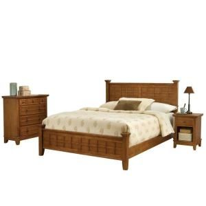 Home Styles Arts and Crafts Cottage Oak Queen Bed with 2 Nighstands and Chest 5180 5020