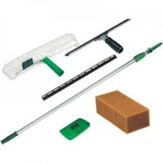 Unger 5 Piece Pro Window Cleaning Kit 8 ft. Pole, Strip Washer, Squeegee, Scraper, Sponge UNG PWK0