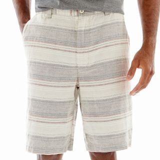 St. Johns Bay Linen Shorts, Taupe Stripe, Mens