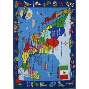 LA Rug Inc. Fun Time Map of Mexico Multi Colored 8 x 11 ft. Area Rug FT 131 0811