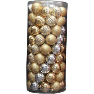Holiday Time 101 Piece Shatterproof Christmas Ornament Set, Gold Christmas Decor