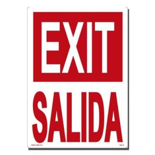 Lynch Sign 10 in. x 14 in. Red on White Plastic Exit/Salida Sign BLS  2