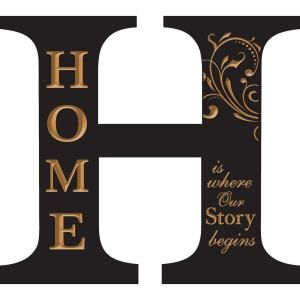 P. Graham Dunn 14.75 in. x 13.25 in. Black Architectural Letter H Home Wood Carved Wall Hanging AOA13