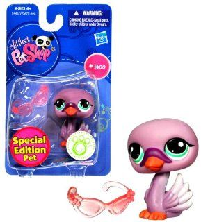 "Hasbro Year 2009 Littlest Pet Shop Single Pack ""Special Edition Pet"" Series Bobble Head Pet Figure Set #1400   Purple SWAN with ""Sunglasses"" (#94457) Toys & Games"