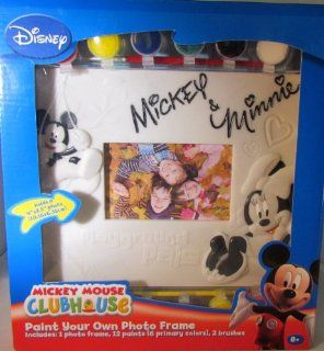 """DISNEY """"PAINT YOUR OWN PHOTO FRAME"""" MICKEY MOUSE CLUBHOUSE MICKEY & MINNIE MOUSE INCLUDES 1 PHOTO FRAME, 12 PAINTS, 2 BRUSHES Toys & Games"""