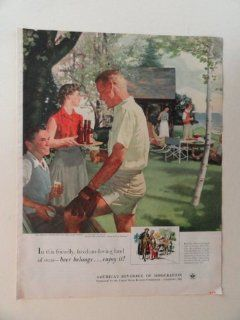 """America's Beverage of Moderation. 1952 full page print advertisement. (""""Saturday afternoon on the lake front.""""art by Douglass Crockwell.number 69 in the series """"home life in america"""")original vintage magazine Print Art.  Everything"""