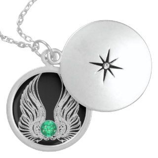 Birthstone Angel Wings Bling May Emerald Necklaces
