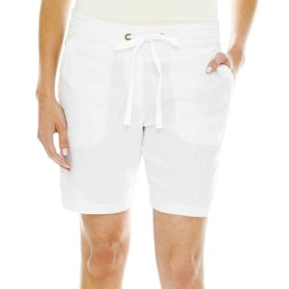 St. Johns Bay Linen Bermuda Shorts   Petite, White, Womens