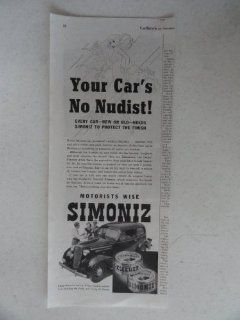 Simoniz. Vintage 30's print ad. black and white Illustration (your car's no nudist) Original vintage 1936 Collier's Magazine Print Art.