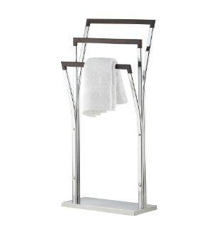Axentia Bad 282170 Handtuchhalter Nobless, verchromt, mit 3 Haltern aus Holz und schwerer Bodenplatte, hoch 89.5 cm Küche & Haushalt