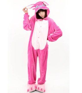 Tieroutfit Halloween Tier Cosplay Pyjama Onesie Stitch Kostüm Kigurumi Schlafanzug Erwachsene tierkostüme Fuchsia (M(für Höhe 162 168cm)): Sport & Freizeit