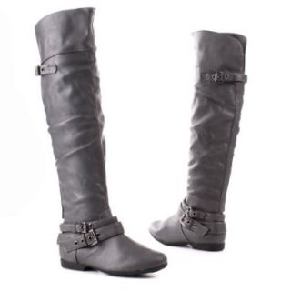 Damen Schuhe, STIEFEL, RIEMCHEN, A178, Synthetik in hochwertiger Leder Optik, Grau, Gr 41 Schuhe & Handtaschen