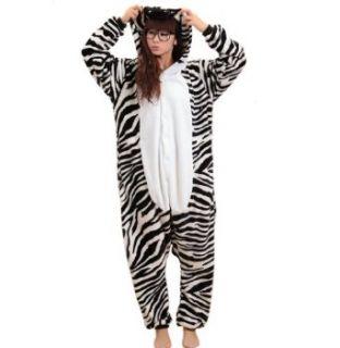 Tierkostüme Halloween Zebra Kostüm Tier Pyjama Onesie Kigurumi Schlafanzug Overall Erwachsene Tieroutfit (L(für Höhe 170 179cm)): Bekleidung