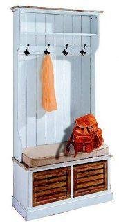 644: serie p   Garderobe   mit Sitzbank   Echtholz weiss   189x92x40cm: Küche & Haushalt
