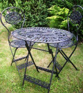 Eisentisch mit 2 Stühlen, schwarz, als Gartenmöbel oder Balkonmöbel aus Eisen / Metall Eisenmöbel: Garten