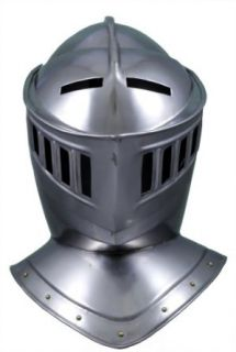 RedSkyTrader Mens Closed Knight Armor Helmet One Size Fits Most Metallic: Clothing