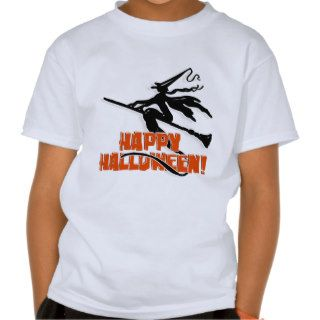 Witchy Silhouette W/Happy Halloween Wood Text Shirt