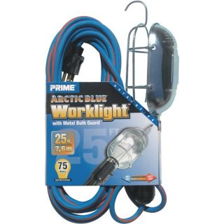 Prime Arctic Blue All Weather 16/3 SJEOW Metal Guard Work Light With Outlet, 25 Feet Tools