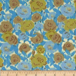 Love Grows Ikat Floral Blue/Olive Fabric