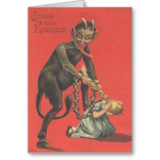 Krampus Punishing Girl Card