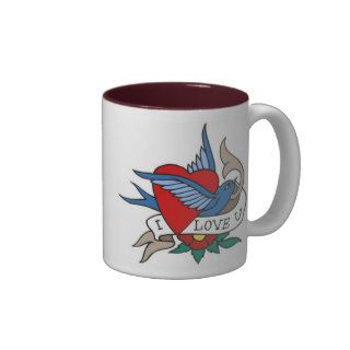 Vintage I Love U Bird, Heart Tattoo Art Coffee Mug