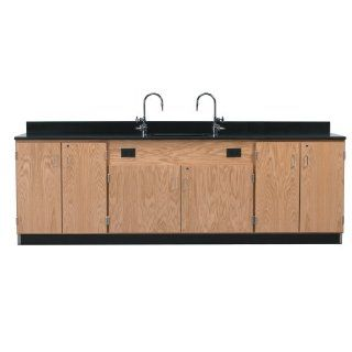 """Diversified Woodcrafts 3226K Solid Oak Wood Wall Service Bench with Door/Drawer Cabinet, Epoxy Resin Top, 108"""" Width x 36"""" Height x 24"""" Depth Science Lab Utility Islands Industrial & Scientific"""